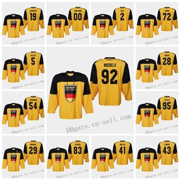 Deutschland 2019 IIHF Weltmeisterschaft Hockey Jersey 29 Leon Draisaitl 50 Patrick Hager 91 Moritz Müller 28 Frank Mauer 5 Korbinian Holzer