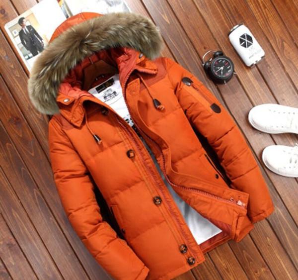 Mens Down Jacket Winter Men Short Fur Hood Four Color Available Duck Down Thick Fur Collar Men Outdoor Winter Warm Coat XL Tide #km1