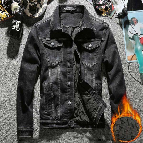 Yeni Moda Sıcak Denim Ceket Erkekler 2020 Kış Slim Fit Streetwear Siyah Jean Ceket Rahat Giyim Erkek Kovboy Ceket