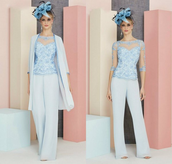 light blue mother of the bride pant suits bateau neck 3/4 long sleeves prom dress lace formal wedding guest gowns outfits