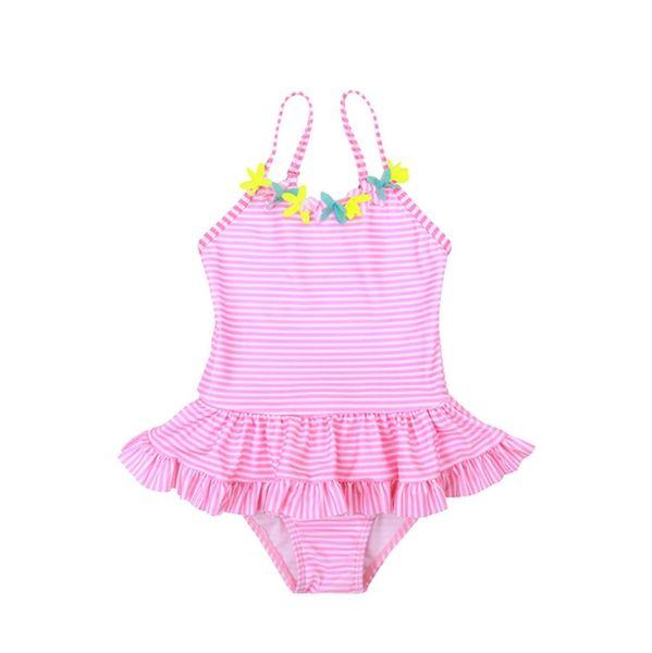 Baby Girls Swimwear Striped Girl Sling Swimsuits One Pieces Flower Girls Bath Suits Children Swim Wear Summer Kids Clothing 2 Colors YW2657