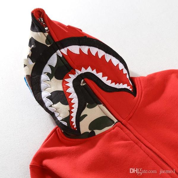 Mode für Männer Hai Pullover Stickerei Shark MA1 Flight Male Tide Shark Hoodie Men 's Paare mit Kapuze Jacken