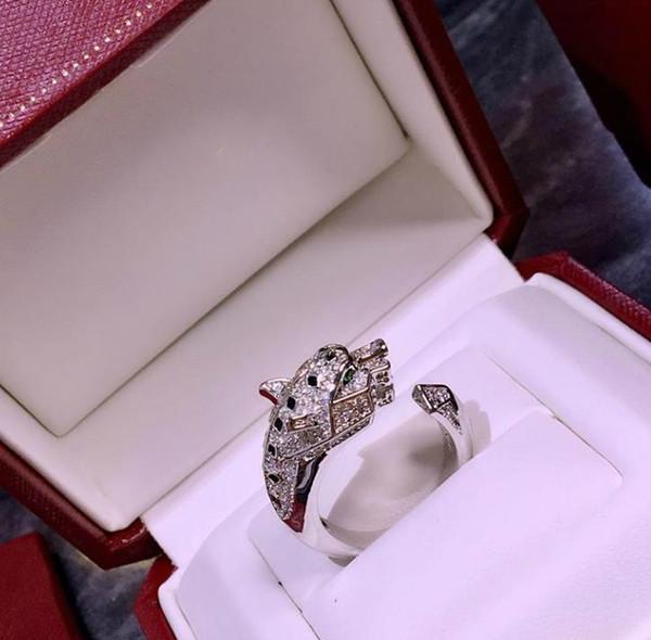 Luxury Jewelry Ring Woman Designer PANTHÈRE DE C Series Animal Leopard Head Open Ring Wedding Banquet Jewelry
