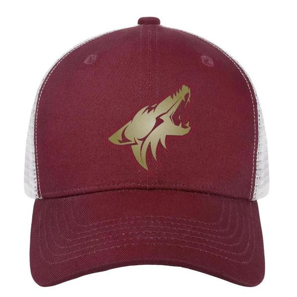 NHL Arizona Coyotes logotipo mens ouro esporte snapback chapéu engraçado ajustável boné de dança das mulheres boné de beisebol personalizado chapéus de pesca de malha