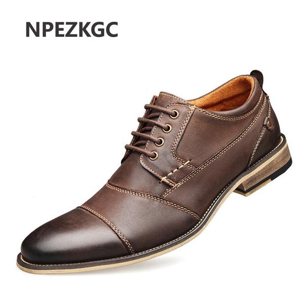 NPEZKGC Marca Hombres Zapatos Oxford de Calidad Superior de Estilo Británico Hombres Zapatos de Vestir de Cuero Genuino Negocio Formal Flats