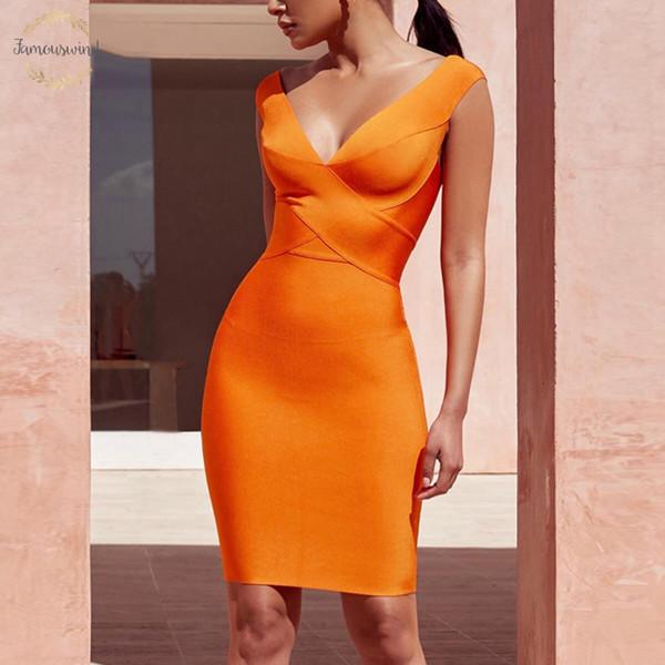 2019 Bandage Vestido New Arrivals Sexy Bodycon Fashion Club Suede partido para mulheres celebridade Sleeveles V Neck Laranja Vestido Vestidos