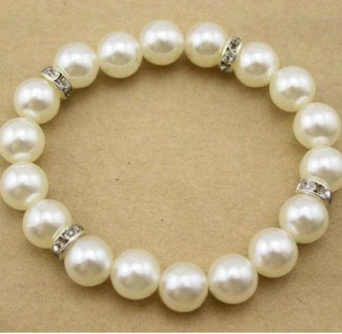 20pcs 10mm White Pearl Bracelet Crystal Spacer Fashion para joyería DIY Pulseras