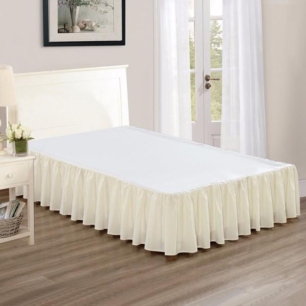 Expédition gratuite beige gris noir rose bleu jupe de lit avec lit blanc surface couvre-lit tablier double full queen king size