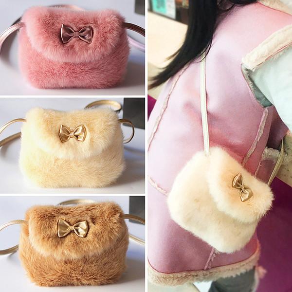 Carino cuoio dell'unità di elaborazione / Faux Fur Kids Coin Purse Coniglio Bowknot Mini Messenger Bag Borsa bambini Crossbody Bag per le borse a tracolla della ragazza
