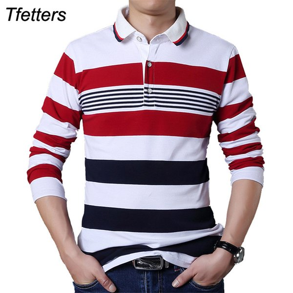 TFETTERS Autumn Casual Men T-shirt White and Red Stripe Pattern Fitness Long Sleeve Turn-down Collar Cotton Tops Stripe