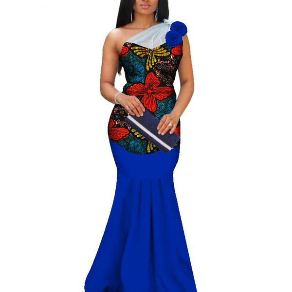 2019 Applique African Print Yarn Long Dresses for Women Bazin Riche Mermaid Draped Dresses African Style Custom Clothing WY3377