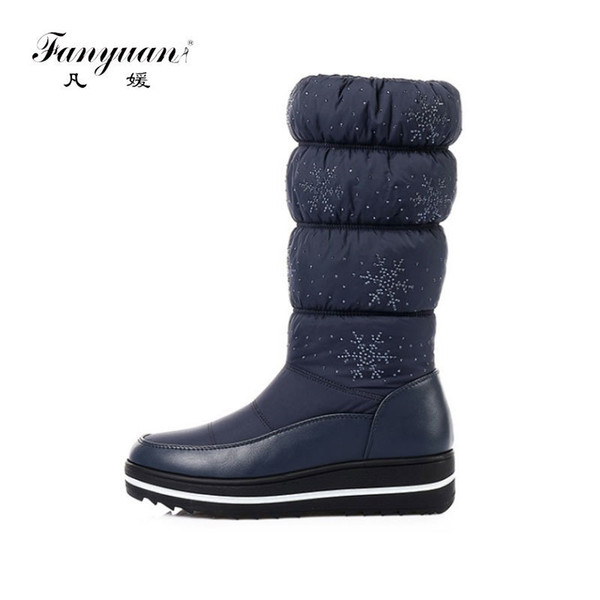 fanyuan Fashion Solid Slip-On Snow Boots Women Plush Winter Boots Crystal Flat Platform Heel Knee-High Boots Warm Fur Shoes