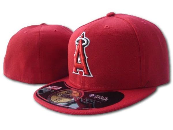 2019 Men's Angels1 Full Red Color On Field Chapeaux ajustés au Baseball Équipe brodée A Lettre Chapeau Bord Chapeaux Ventilateurs De Baseball Taille Casquettes