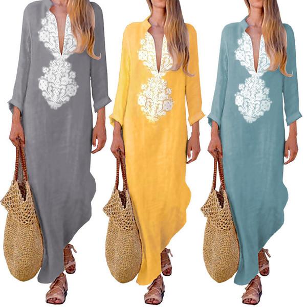 Verão boho maxi dress manga comprida com decote em v mulheres longo dress roupas solto ladies party casual praia vestido de verão