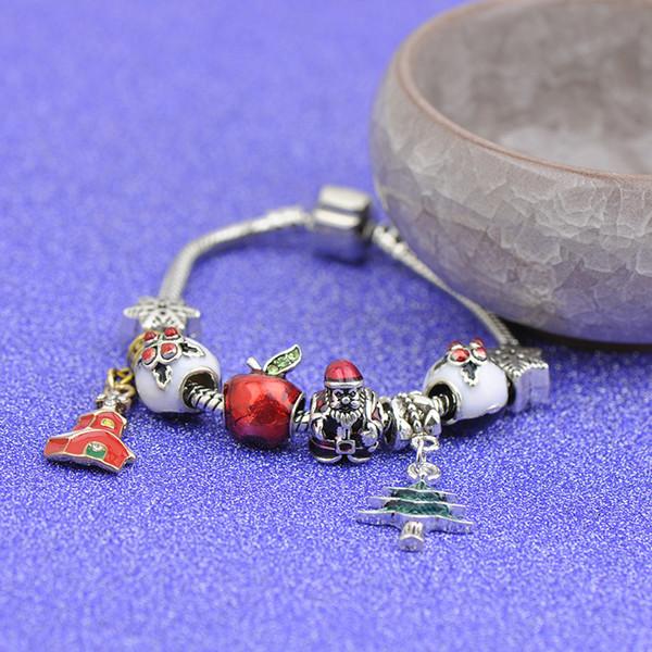 Top Charm Bracelets Fit Pandora Women Crystal Glass Beads Bangle Santa Claus Tree House Pendants Silver Apple Gift Christmas Jewelry Best4UU