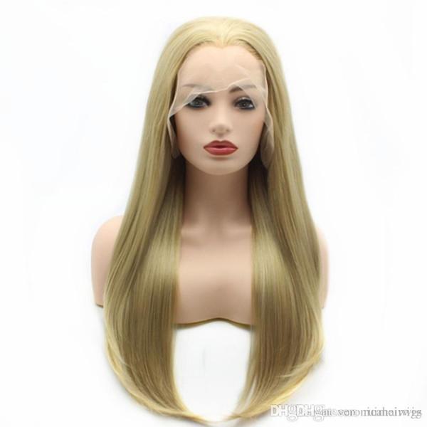 Livraison gratuite 24inch brun clair longue ligne droite cheveux demi main liée forte densité sans colle synthétique avant de lacet perruques pour femmes résistant à la chaleur