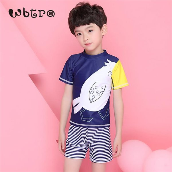 WBTRO 2018 Children Boy Two Piece Bathing Beach Swimsuit Pool Hot-spring Short Sleeve Carton Cute Sharp Color Swim Cap Swimwear