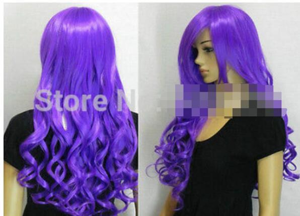 БЕСПЛАТНАЯ ДОСТАВКА + + + новый фиолетовый длинный вьющийся парик косплей