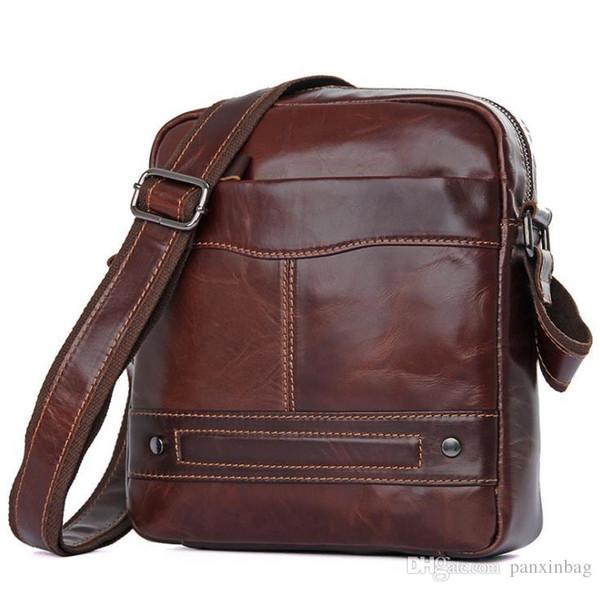 Hakiki deri erkek tek omuz çantası retro moda IPAD yağ kaplı balmumu adamın çantası