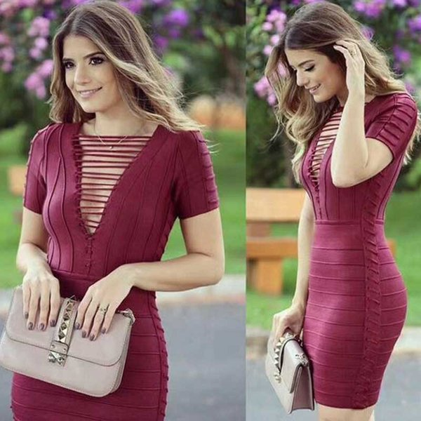 wholesale 2019 Newest Women Red wine Short sleeve V-neck high quality Fashion sexy Night club Celebrity party Bandage dress