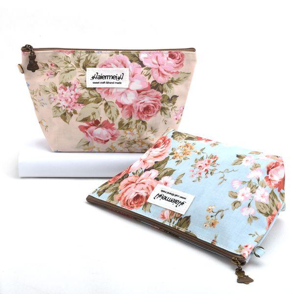 Japan&Korean Vintage Floral Printed Cosmetic Bag Female Zipper Cosmetics Bag Women Makeup Bags Portable Travel Make Up Pouch