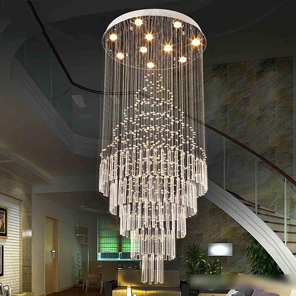 Luz Pingente LEVOU Art Design Sala de estar Sala de Jantar Lustres de Luz K9 Luminárias de Cristal AC110-240V Lâmpadas de Teto de Cristal VALLKIN Iluminação