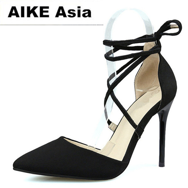 Dress 2019 New Woman High Heels Pumps Red High Heels 9.5 Cm Women Shoes Wedding Pumps Black Nude Heels Straps Cross-tied