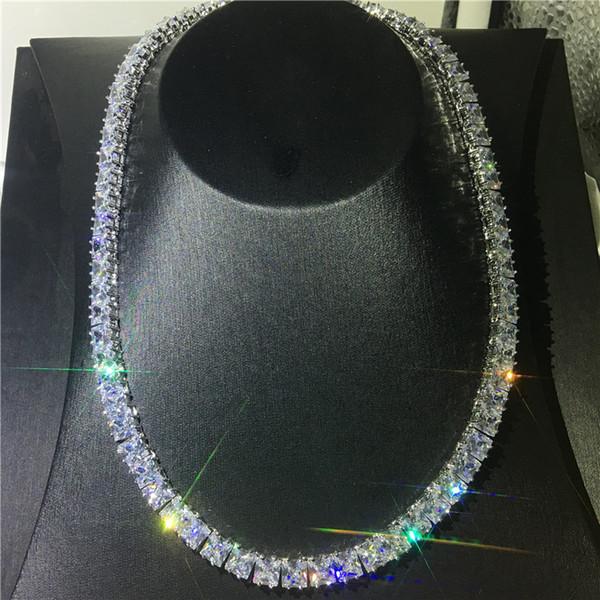 Роскошное Теннисное Ожерелье Полный Принцесса Cut Бриллианты Cz Белое Золото Запол