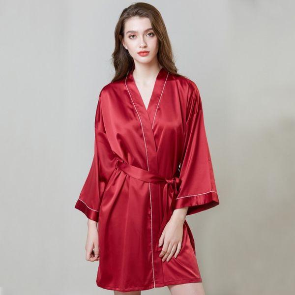 Pajamas hot sale increase wedding silk nightgown female summer long-sleeved dress robe ice silk bathrobe home clothes free shipping