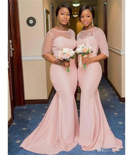 Sheer elegante rosa Mermaid abiti da sposa lungo mezza manica gioiello collo festa di nozze abiti sweep treno pizzo Appliques partito abiti di promenade