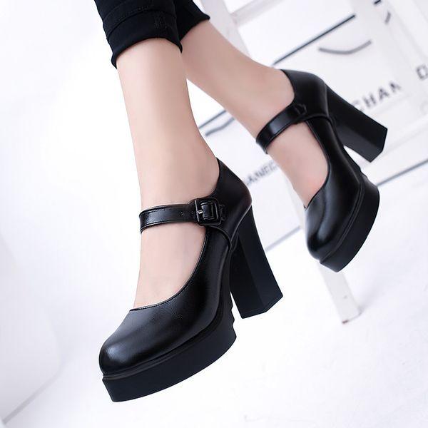 EOEOODIT Women High Square Heel Leather Pumps Marry Jeans Platform Pumps Spring Autumn Party Office