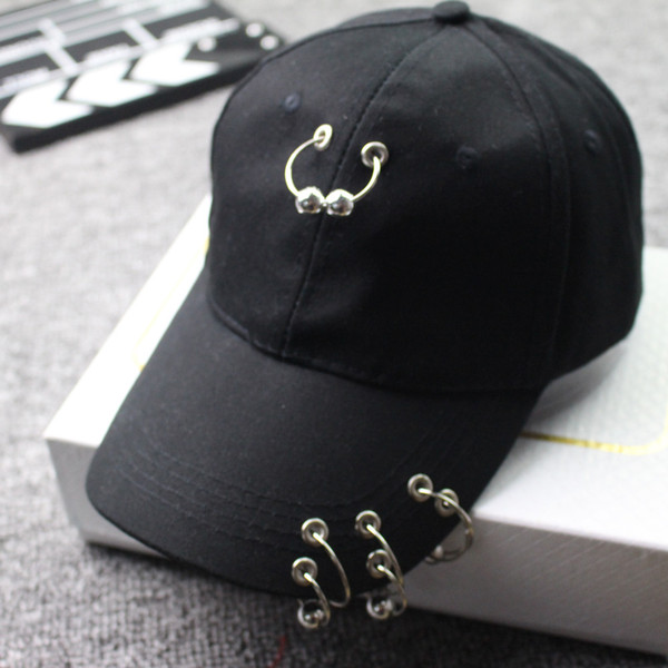 Eisen Ring Street Hat Frauen Männer Mode Baseballmütze Iron Hoop Hysterese Hip Hop Flachen Hut Streetwear Hip Hop Cap