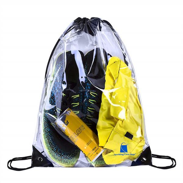 best selling 50pcs PVC Transparent Waterproof Drawstring Backpack Camo Gym Bag School Sport Outdoor Beach Shoe Bag