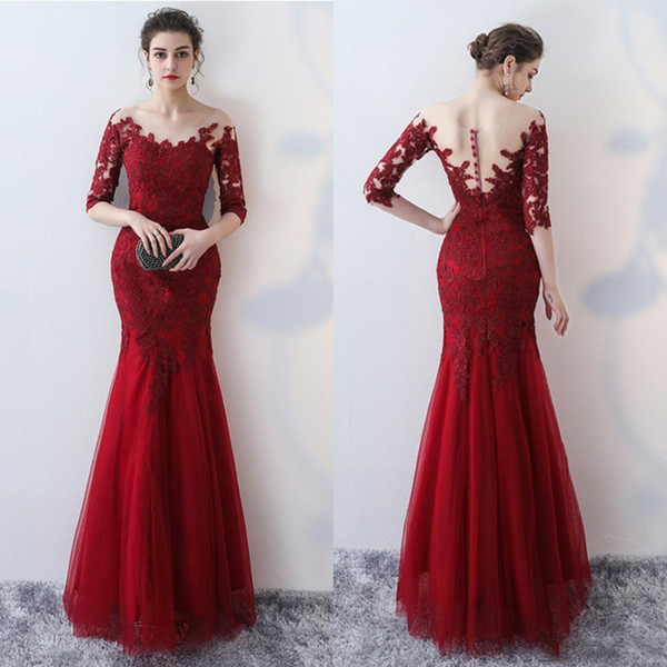Elegant Arabic Dark Red Mermaid Prom Dresses Lace Applique Half Sleeve Low Back Floor Length Formal Evening Gowns Sexy Sheer Back Button