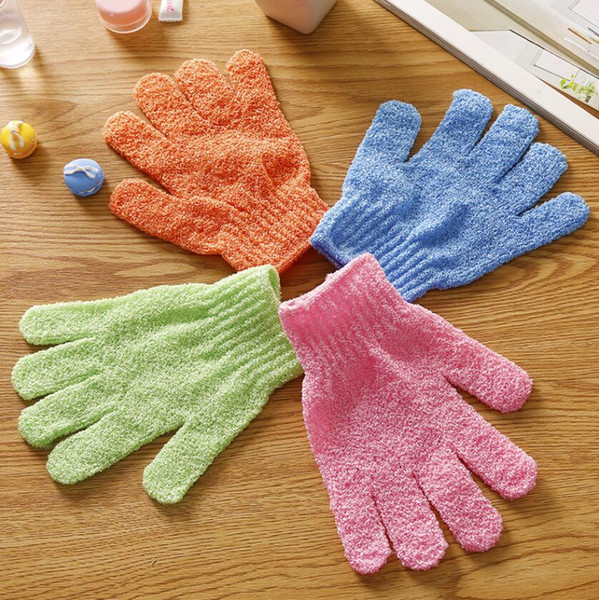 Bath Gloves Shower Scrubber Scrub Back exfoliating Skid resistance Body Massage Sponge Bath Glove Wash Skin Spa Foam 7 Colors DHL