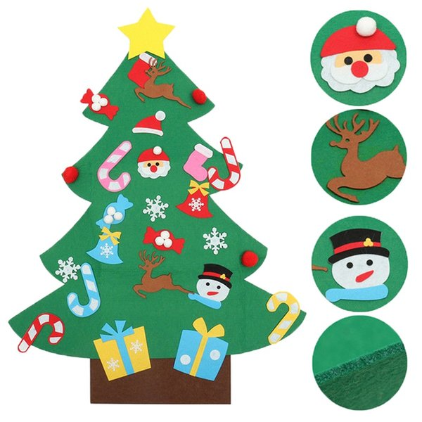 New Year Navidad Christmas Home Decorations Kids DIY Stereo Felt Christmas Tree with Decorations Door Wall Hanging Xmas Gifts