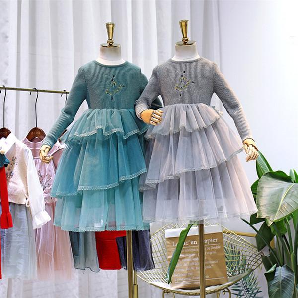Kinder Spitze Tüll Tutu Kleider Ballett Mädchen bestickt Strickpullover Prinzessin Kleid für Kinder Spleißen abgestufte Spitze Tüll Kuchen dressF1007