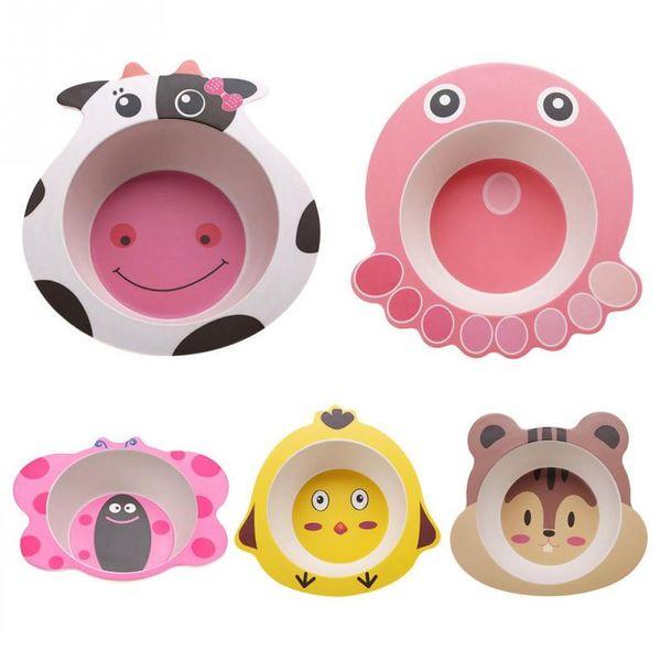 Creative Baby Bowl Plate Dishes Animal Baby Dinnerware Bamboo Fiber Children's Plate Cartoon Feeding Dishesd Kids Tableware