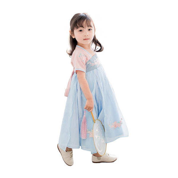 2-8 Yrs Baby Girls Embroidery Floral Long Dress Simple China Tang Hanfu Children Traditional Ancient Folk Costume Summer Clothes Y19061801