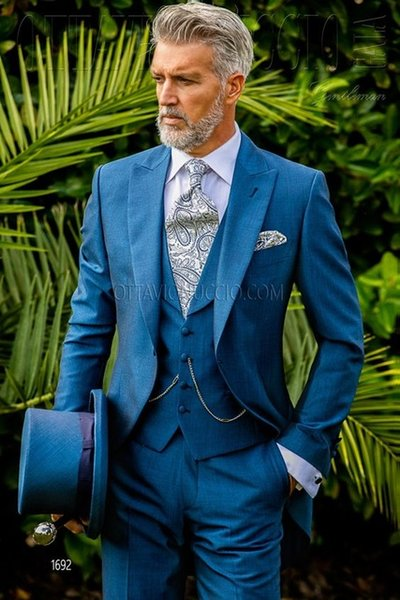 Blue Italian Suit Men Blazer Wedding Groom Men Suit Slim Fit Prom Formal Jacket Tuxedo Costume Homme 3 Piece Terno Vest Tailored