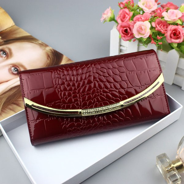 fashion genuine leather wallet women 2019 luxury designer patent leather wallets female clutch ladies 3 fold cowhide hasp wallet