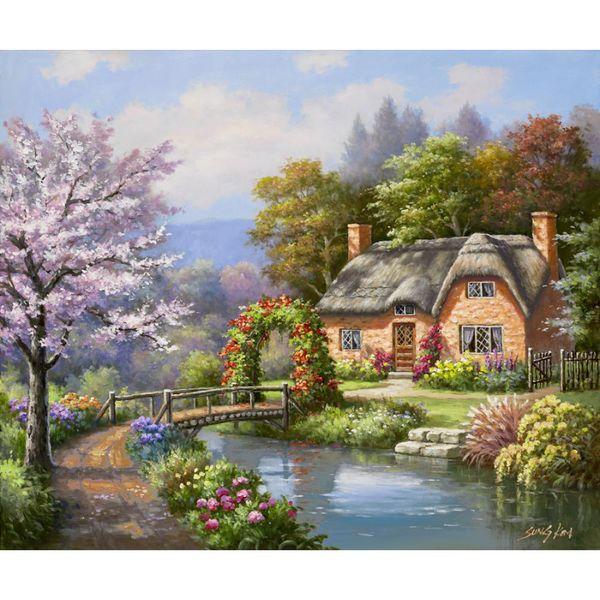 Dipinti ad olio su tela di Sung Kim Spring Creek Foto di cottage per decorazione murale dipinta a mano