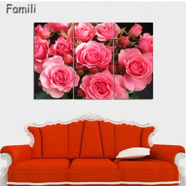 3 Pz / set Combinato Dipinti di Fiori Viola Rosa Moderna Pittura Murale Su Tela Picture Wall Art Senza Cornice Tela Pittura