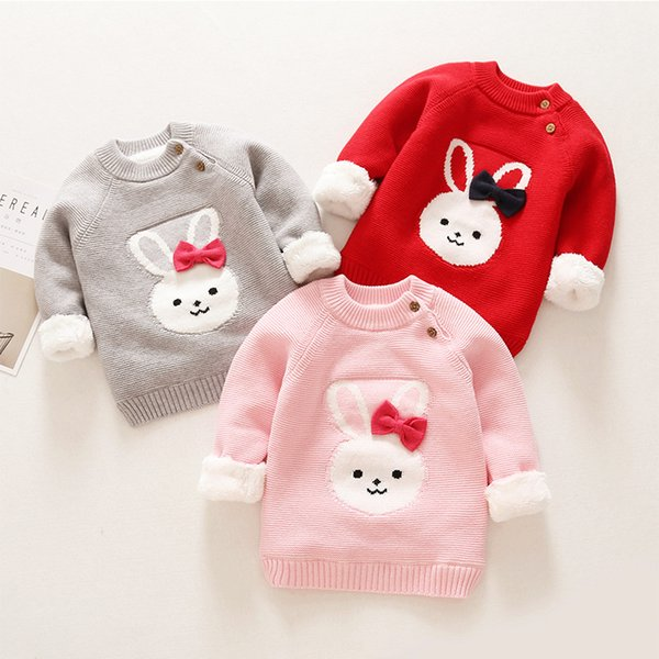 BibiCola 2018 winter girls sweaters new cotton cartoon thick pullover clothing for kids childrens plus velvet warm sweater tops