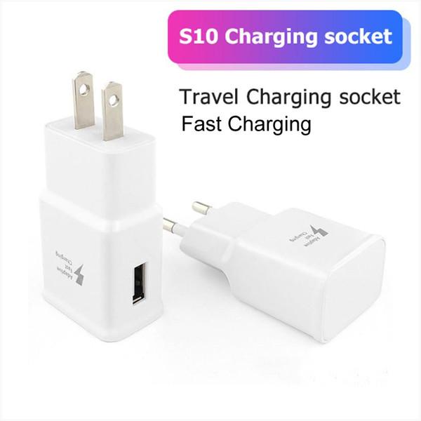 Адаптивная быстрая зарядка 5V 2A USB Настенное зарядное устройство Адаптер США ЕС Plug для Samsung Galaxy S10e S10 S9 S8 Plus S7 край Примечание 4 MQ100
