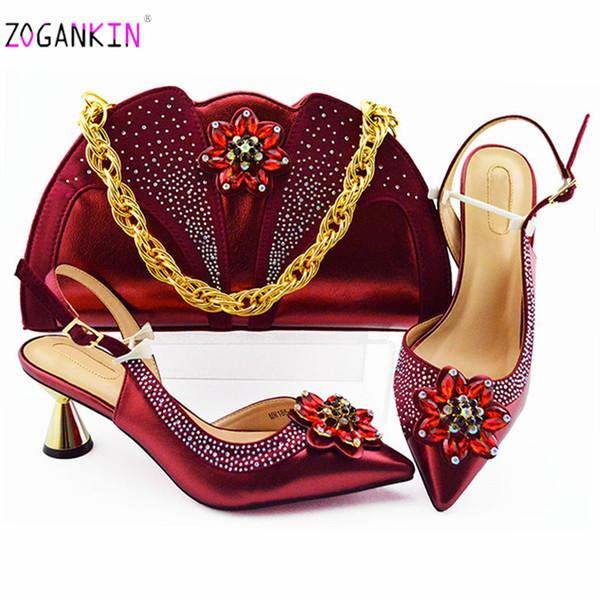 İtalyan 2019 Özel Tasarım Bayanlar Eşleşen Ayakkabı ve Çanta Malzemesi ile Pu Nijeryalı Ayakkabı ve Çanta için Parti Kadın Ayakkabı