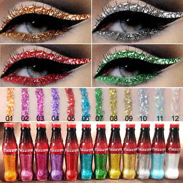 Cmaadu Yeni Marka glitter sıvı eyeliner 12 renkler göz makyaj jel şişe su geçirmez ve giymek kolay parlak Göz Pigment Kore Kozmetik
