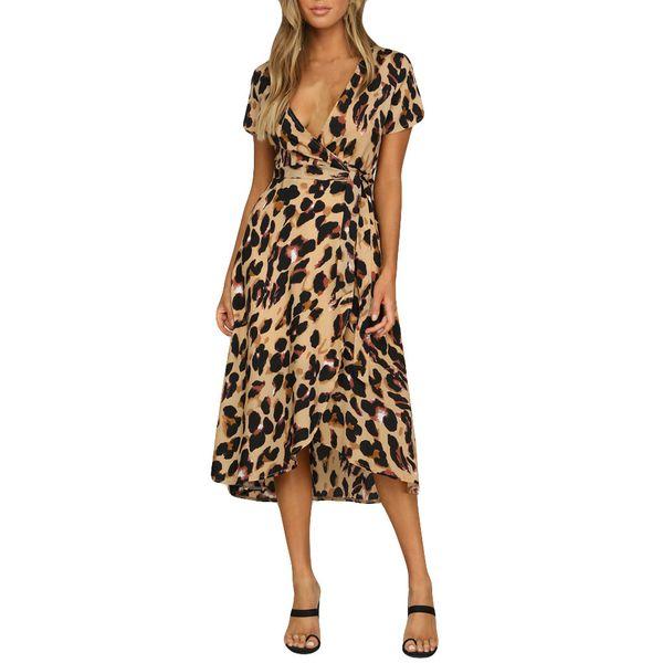 Frete grátis Womens Leopard Print Boho Maxi Vestido de Senhoras Holiday Long Short Sleeve Dress venda quente