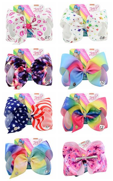 8 zoll JOJO Bögen Amerikanische Flagge Haarnadeln Haarbögen 4. Juli Großhandel Haarspangen Für Mädchen Mode Baby Headwear