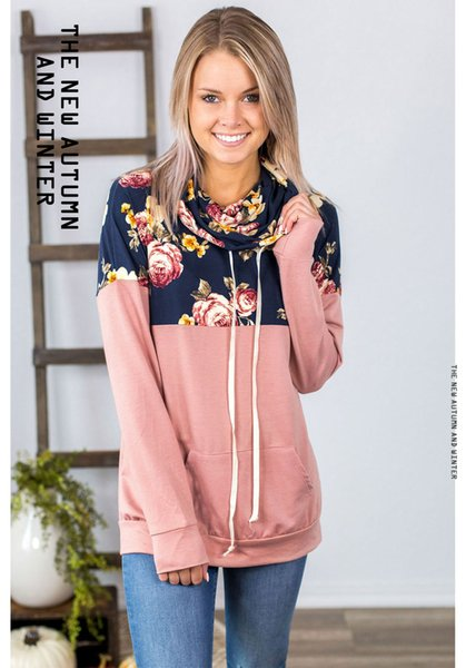 Women Floral Print Panelled Hoodies Pink Yellow Sweet Pullover Woman Winter Hot Sale Clothing Free Shipping